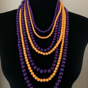 7 Strand Purple Gold Long Beaded Necklace College